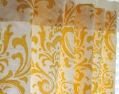 Pair of Decorative Designer Custom Curtains Drapes  50 x 96  Yellow and White Damask Contemporary Modern Style