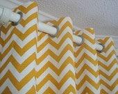 NEW Pair of Decorative Designer Custom Grommet Curtains Drapes  50 x 96  Corn Yellow and White Chevron Zig Zag