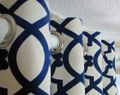 One Panel Decorative Designer Custom Grommet Curtains Drapes Navy Velvet Lattice On Cream 50 x 108 fully lined