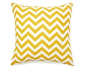 Designer Decorative Pillow Cover Chevron in Corn Yellow and White 18 x 18 inch Removeable Cover Contemporary Modern Style