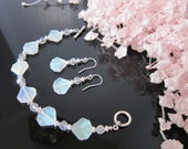 Iridescent Pressed Glass Bead and Crystal Bracelet and Earring Set