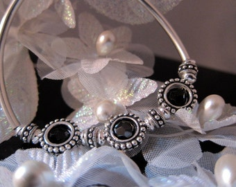 Black Hematite Crystal & Sterling Bangle Bracelet