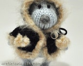 RESERVED for DartGarry. Hand Knitted  Pastel Blue Eskimo Puppy Doll. 6.5'' tall. Posable. Collectible.