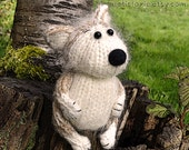 Hand Knitted  Red Husky Puppy. 5.5'' tall. Posable. Collectible.