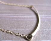 Curved Bar Necklace - gold filled - Crescent