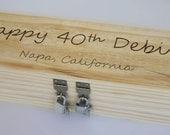 Happy Birthday Wine Box --- double silver padlocks and keys