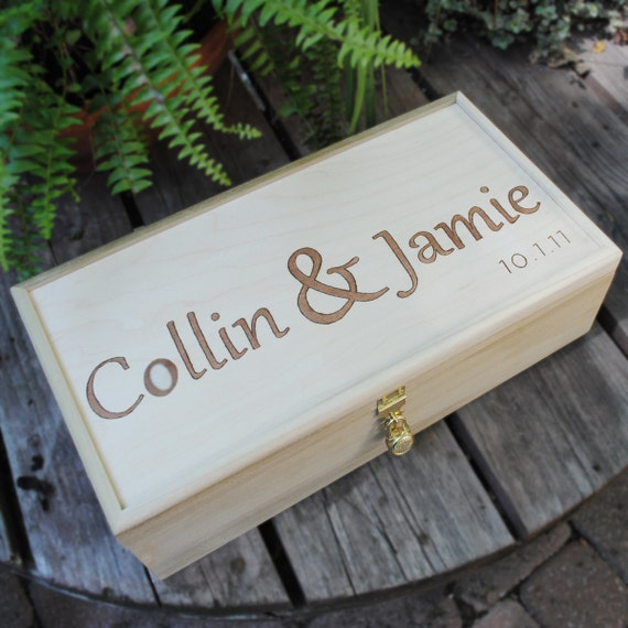 Reserve listing for Melissa, Wedding Wine Box -- for one champagne bottle stained with padlock & key