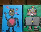 2 cute robots 5x7 paintings