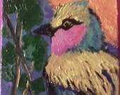 Lilac Breasted Roller 4x4 acrylic painting