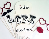 Photo Booth Props - 10 Piece I Do Kit