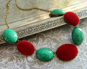 Necklace Vintage Red Velvet & Green Lapis Gemstone  - Crimson and Clover