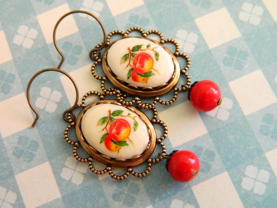 Retro Chic Earrings Vintage Red Cream Lace and Fruit - Betty's Peach Jam