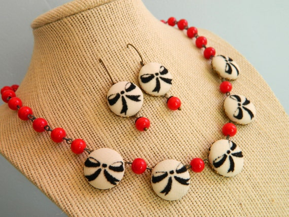 Necklace and Earring Set Vintage Retro Red & Black Bows - Pinup Doll
