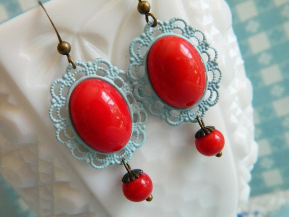 Earrings Vintage Retro Red & Blue Lace - Candy Apple Crush