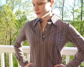 Brown and Beige Vintage Collared Shirt, Long Sleeve, Boho Print, Size Small