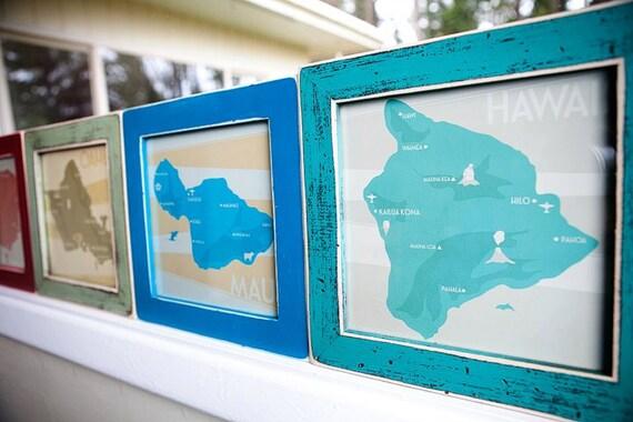 Hawaiian Islands Squares - Set of Four 8x8 Prints