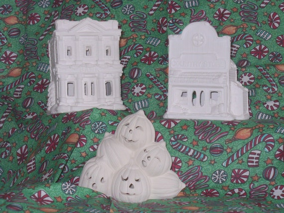 Ready to paint California Creations Christmas village x2  and Halloween pumpkin pile, bisque ceramic greenware