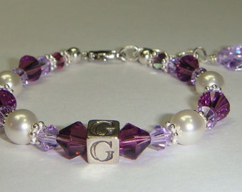 Girl's Initial Bracelet - Swarovski Pearls & Crystals - Butterfly, Heart or Flower Charm - more colors available - Flower Girl