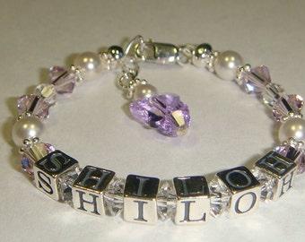 Girl's Birthstone Name Bracelet - Swarovski Pearls & Crystals - Personalized - Charm Choice