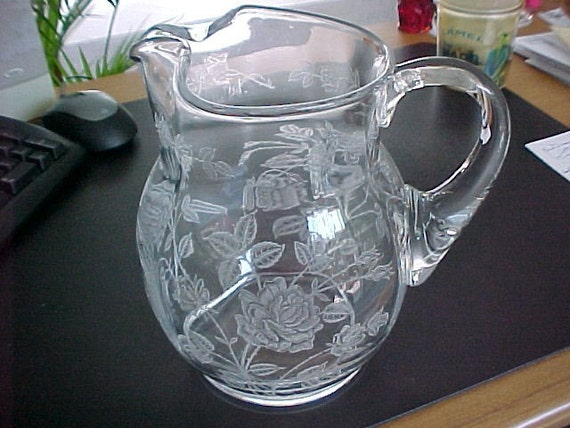 Heisey Rose Jug Etched Crystal Pitcher With Ice Lip