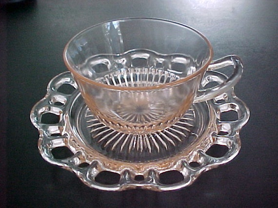 RESERVED Anchor Hocking Old Colony Lace Edge Pink Cup and Saucer Depression Glass 1935 to 1938