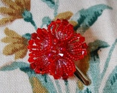 Ruby Red hair flower cute accent hairclip in beads and crystals