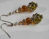 Parisienne Earrings - Olive Green and amber glass beads - Victorian steampunk 1920s or elegant gothic costume jewellery