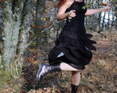 Black silk ruffle skirt - layered frills, pure silk chiffron, gothic fairytale skirt, strega fashion, witchy skirt, witch clothing, dark elf