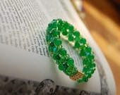 Green Jade and Swarovski Crystal bracelet, woven crystals and Czech beads - rich emerald green, green fairy, la fée verte