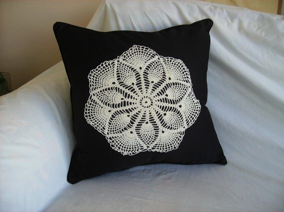 Black Pillow - Cream Doily