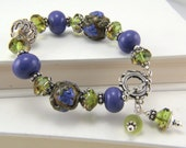 Reserved for Carolyn--Handmade Lampwork and Sterling Silver Bracelet by the Bracelettree:  A Day in Napa Valley