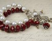 FREE USA SHIPPING--Christmas, Holiday, Red, White, Pearl, Crystal, 2 strand bracelet Bracelet:  Holiday Bracelet by the Bracelettree