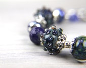 Reserved for Carolyn--Christmas Gift, Holiday Gift, Blue Lampwork and Gemstone Bracelet:  A Day at Ruby Beach