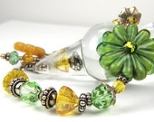 Valentines Day, Green, yellow, crystal, flower, lampwork Bracelet by the Bracelettree:  A Day at Lotusland