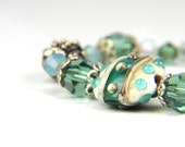 Mothers Day, Gift for Mom, Unique gift, Mint Lampwork and Sterling Silver Bracelet:  A Day in Seattle