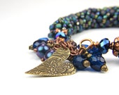 Blue Bronze Casual Boho  TAGT Beaded Bangle Bracelet:  A Day at Ruby Beach