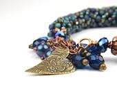 Blue Bronze Casual Boho  TAGT Beaded Bangle Bracelet:  A Day at Ruby Beach