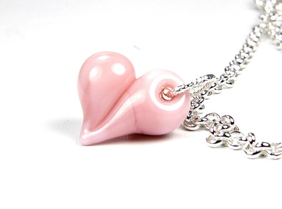 Pink Pastel Peach Coral Lampwork Heart Necklace