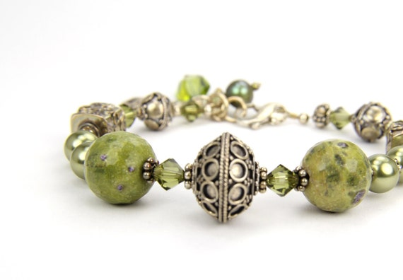 Olive Green Gift  Jasper Sterling Silver and Gemstone Bracelet:  A Day at Saguaro National Park