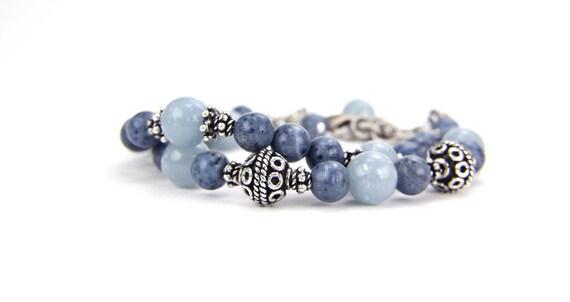 Mother's Day, Demin Blue, Rustic, Boho Gemstone Bracelet:  A Day at Nisqually Wildlife Refuge