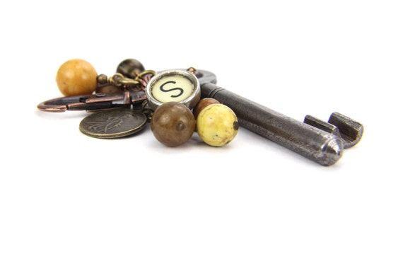Vintage Silver Skeleton Key,Typewriter Key Letter S,  Key Chain, Letter S