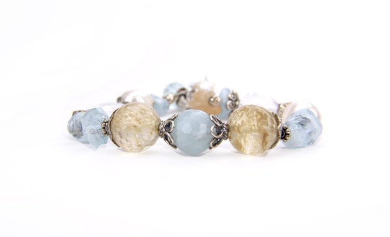 Aquamarine Quartz Blue Tan Sterling Silver and Gemstone, Gift, Casual Bracelet: A Day in Yosemite