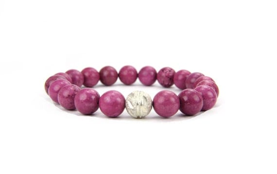 Pink Fuchsia Gemstone and Sterling Silver Stacking Bracelet: Holland