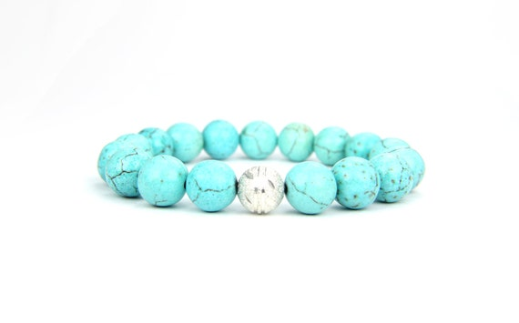 Turquoise gemstone and sterling silver stacking bracelet:  Costa Rica