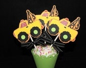 Tow Truck Cupcake Toppers, Boy, Dirt, Construction, Yellow, Set of 12