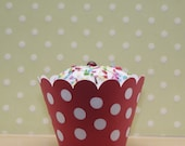 Red with white polka dots cupcake wrapper -- Set of 12