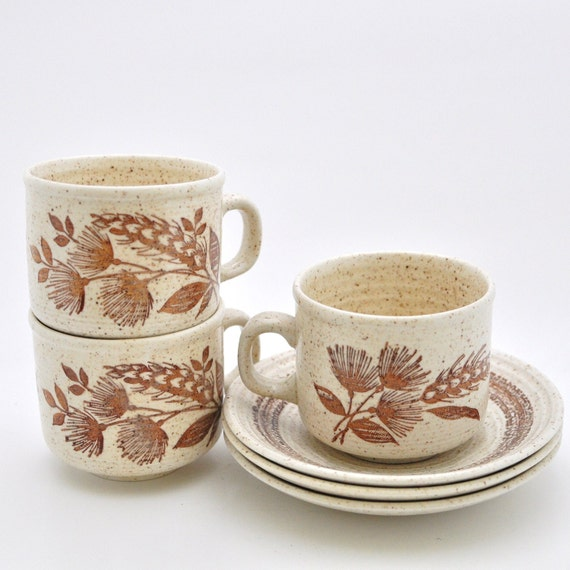 Vintage Cup and Saucer - Churchill - Cottonfield - Set of 3 - Rustic Home Decor - Brown - Natural