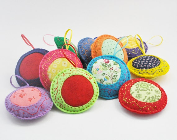 Felt Ornaments - Home Decor - Pincushions - Colorful - Hand Sewn - Embroidered - Bright Colors