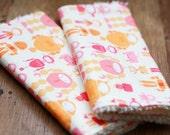 Chenille Burp Cloth Set of 2 -  Baby Girl I Heart Bots