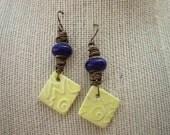 Artisian Glass Ceramic Yellow Vintaj Pottery Blue Sun Earrings